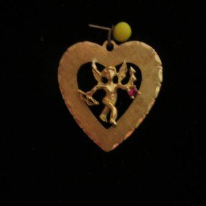 14KT Gold Heart Charm with Cherb & Ruby